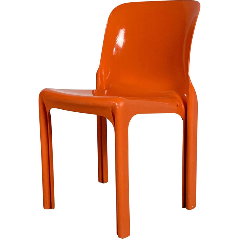 Vintage Flash Orange Selene Chair by Vico Magistretti for Artemide, 1970s