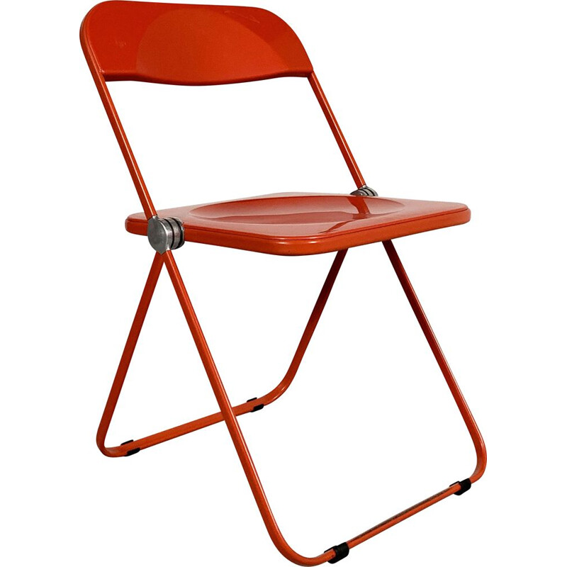 Vintage Red Plia folding chair by Giancarlo Piretti for Castelli, 1960s