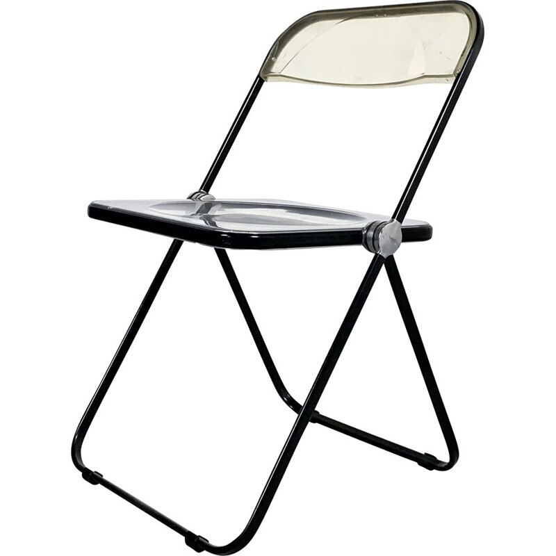 Vintage Black & Lucite Plia folding chair by Giancarlo Piretti for Castelli, 1960s