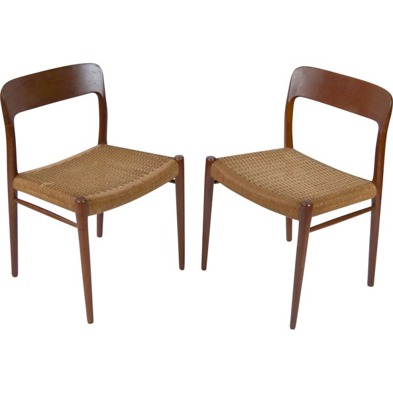 Pair of Vintage Teak Dining Chairs by Niels Otto Møller 1950s