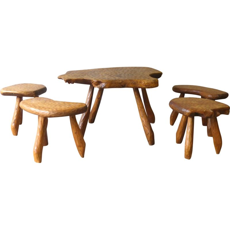 Vintage table and stool set Alexandre Noll 1950