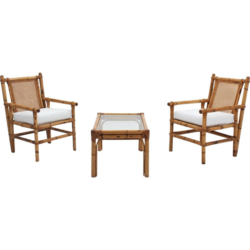 Vintage bamboo living room set 1950