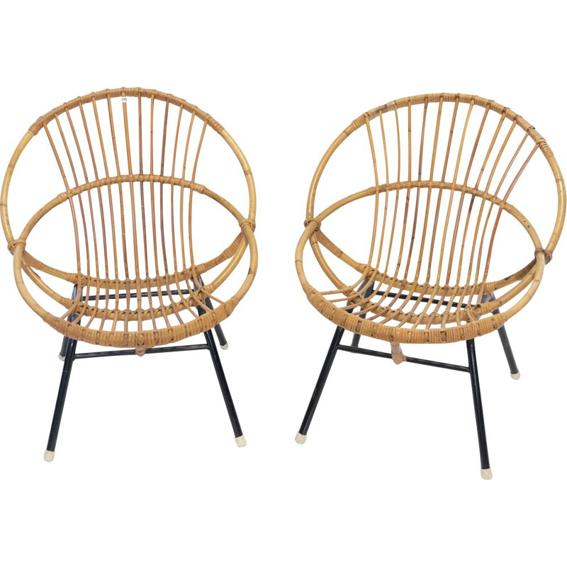 Pair of vintage armchair shell in rattan and metal 1960