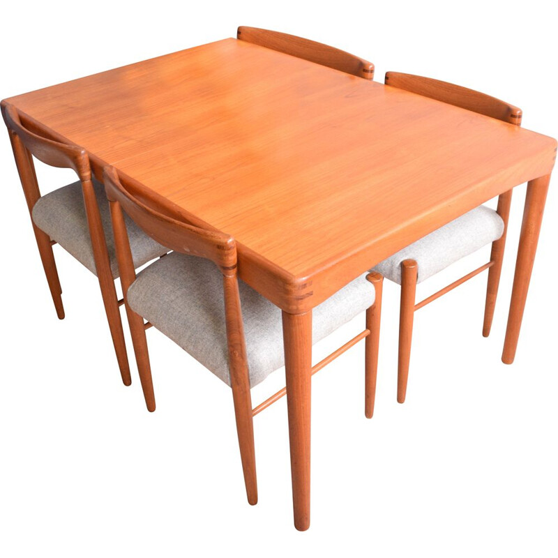 Vintage Teak Table & Four Chairs by H.W. Klein and Bramin 1960s