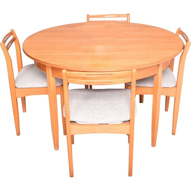 Vintage Teak Avalon Round Extending Table & Four Chairs 1960s