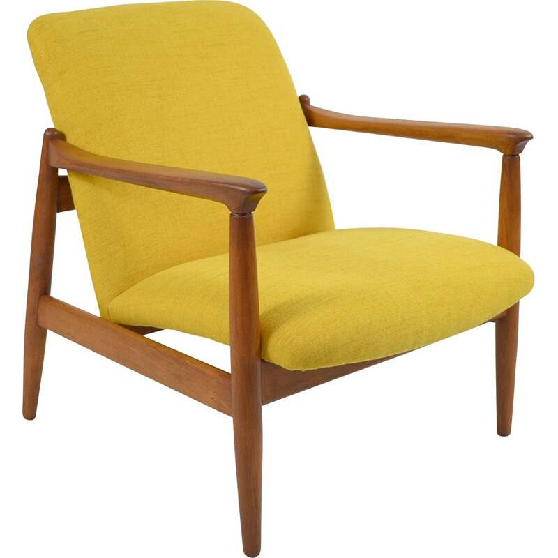 Vintage polish armchair GFM64, designed by E.Homa yellow 1960s