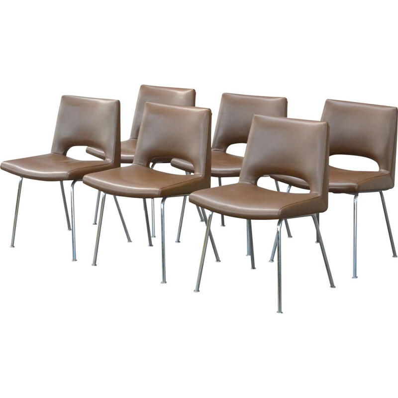 Series of 6 vintage chairs by Georges Frydman EFA 1960