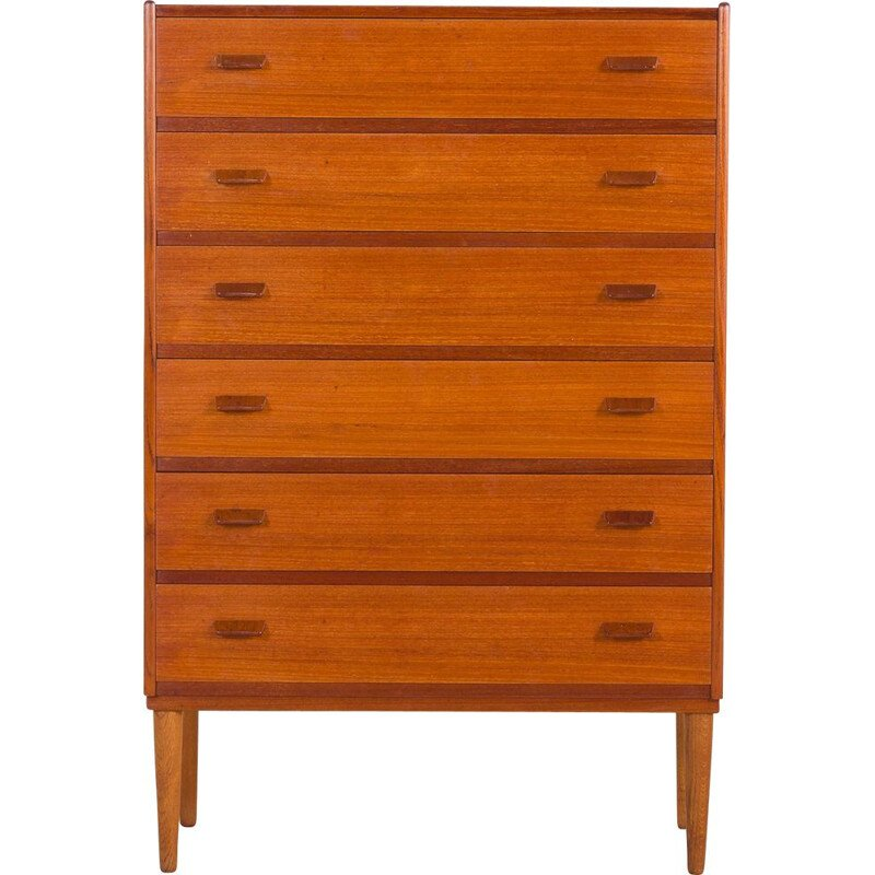 Vintage teak chest of drawers by Carl Aage Skov Danish 1960s