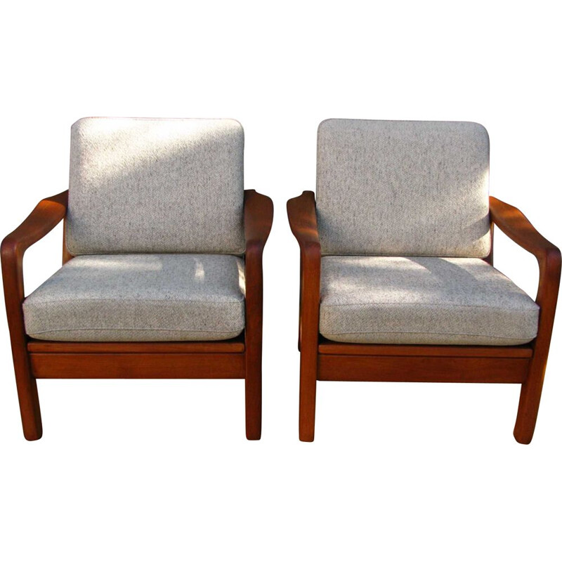 Pair of Mid-Century Teak Lounge Chairs by Juul Kristensen Danish 1960