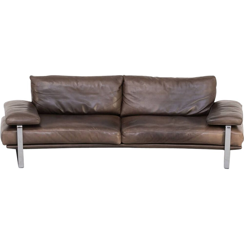 Vintage 'Still Sdc250' large curved sofa in brown leather for Molteni & C Foster & Partners