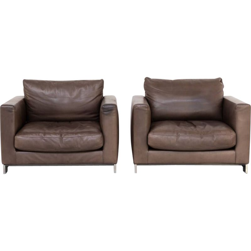 Pair of Vintage Hannes Wettstein 'reversi' leather design fauteuil for Molteni & C