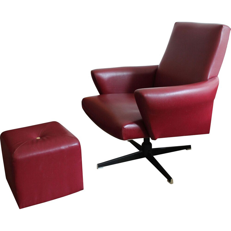 Vintage Swivel Armchair and tabouret in Burgundy Leather 1970s