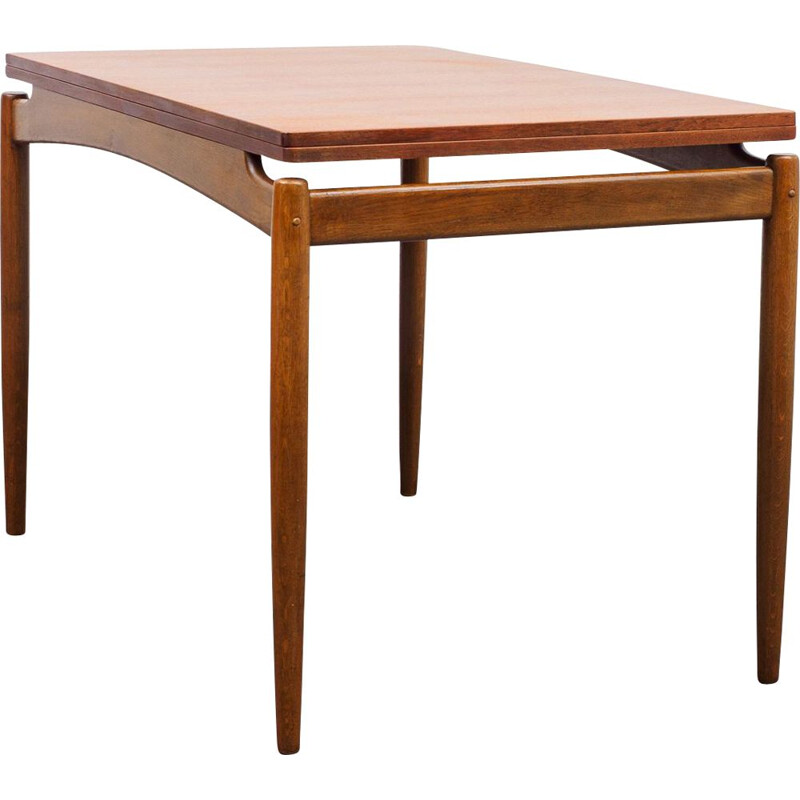 Vintage teak dining table, extendable fold-out table top 1960s