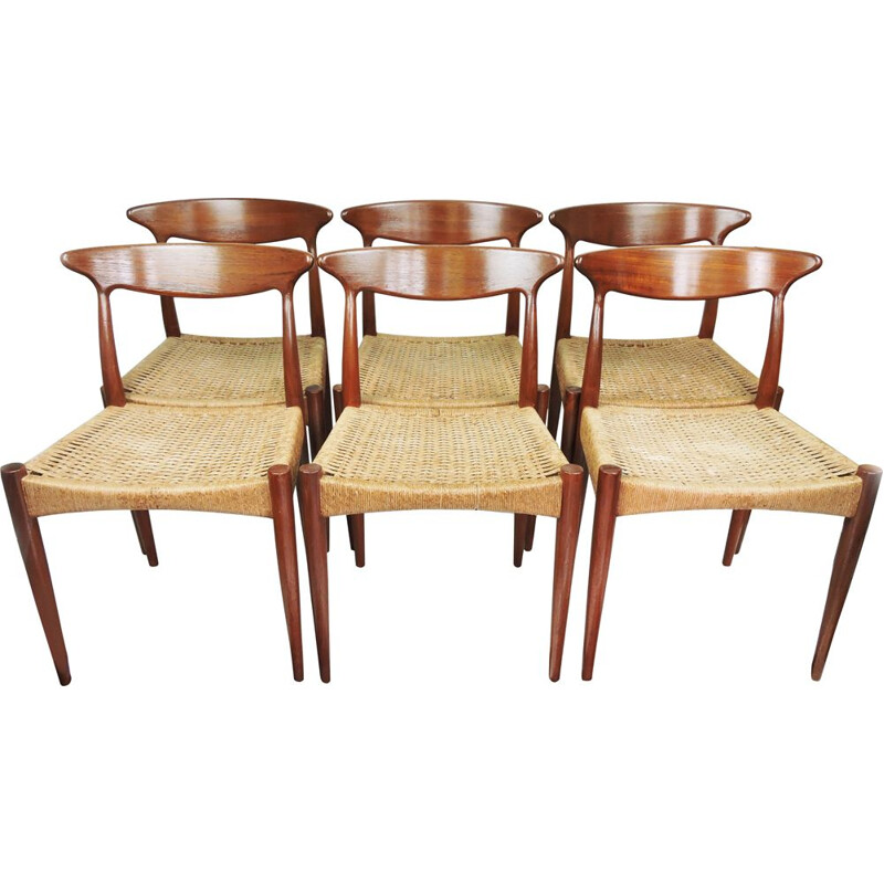 Set of 6 vintage Teak Dining Chair by Arne Hovmand-Olsen for Mogens Kold Danish 1950s