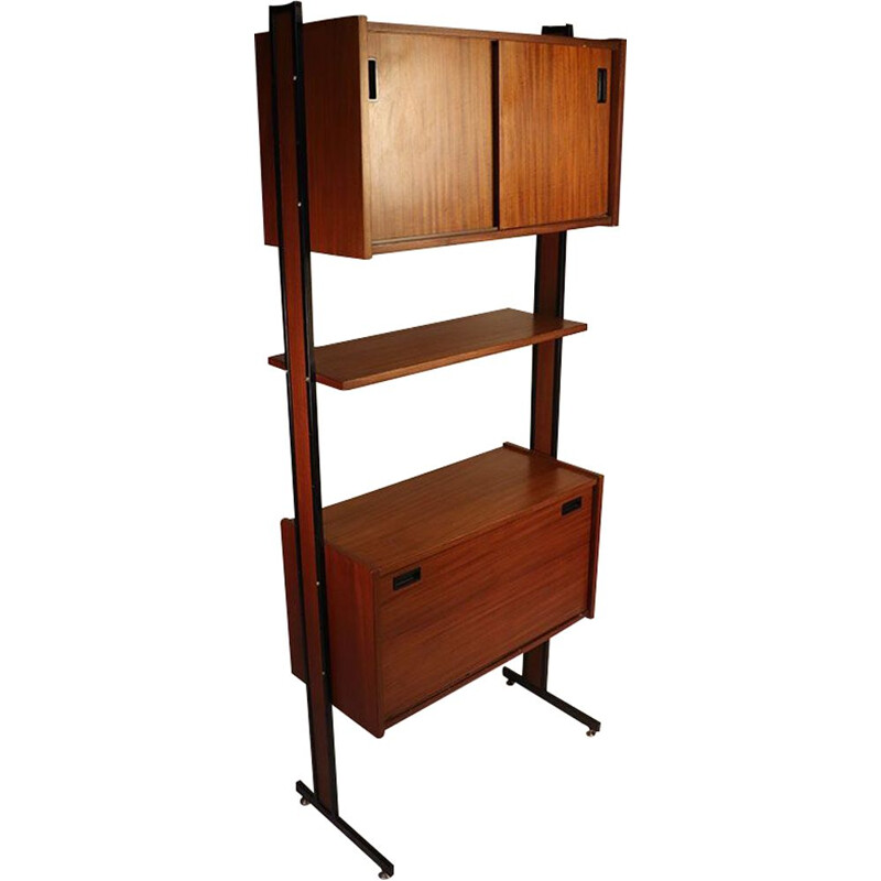 Vintage modular bookcase in wood and metal, 1960