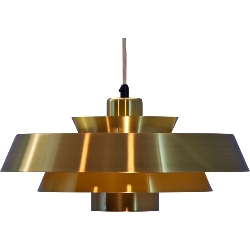 Vintage pendant 'Nova' in solid brass by Jo Hammerborg for Fog & Mørup Danish 1960s