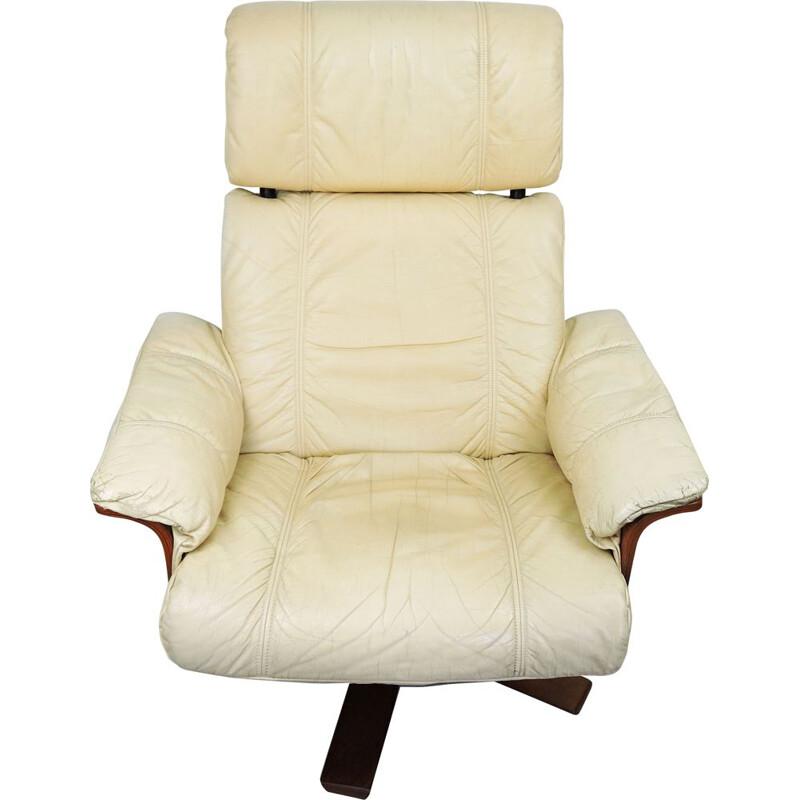 Vintage Cream Leather Lounge Chair and Ottoman, 1970s