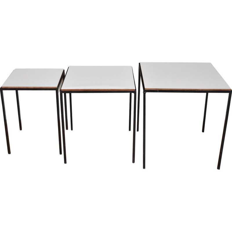 Set of 3 vintage nesting tables by Cees Braakman for Pastoe 1950s