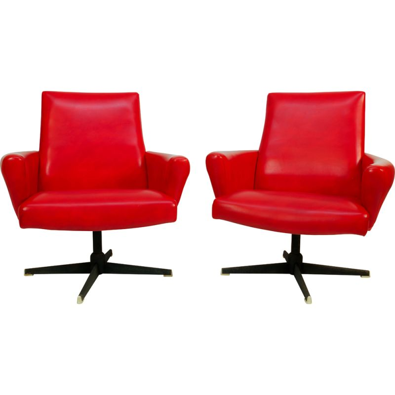 Pair of Vintage Red Swivel Armchairs by Drevotvar, 1978