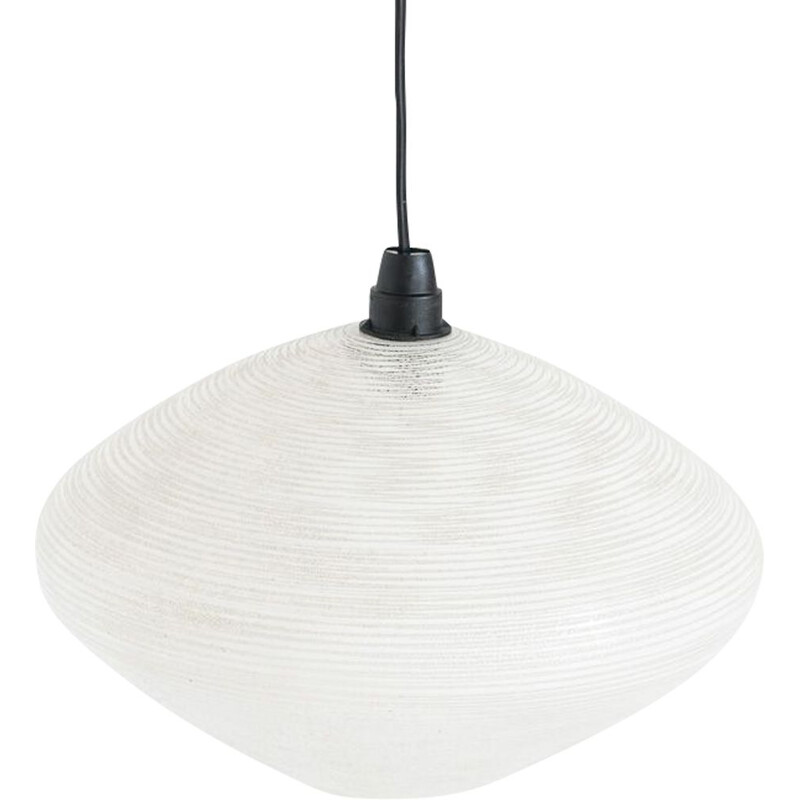 Vintage ceiling light in white translucent glass. France, 1960