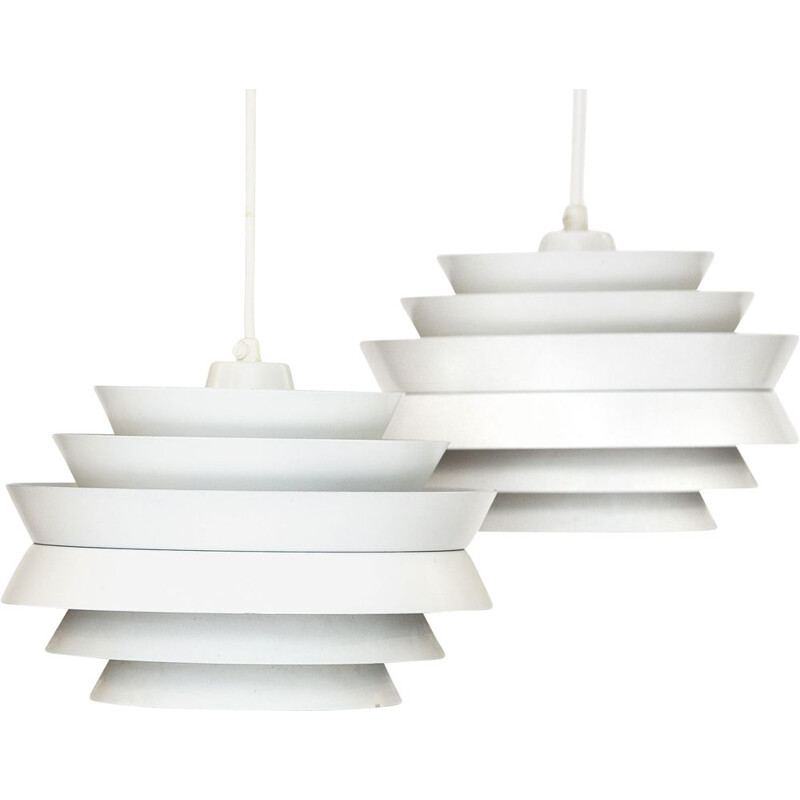 "Pair of vintage pendant lights ""Trava"" in white aluminium by Carl Thore for Granhaga Metallindustri. Sweden 1960s"