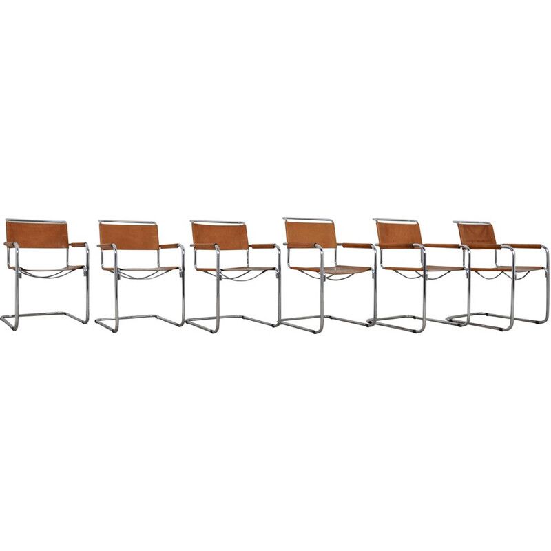 Set of 6 Vintage Tubular Dining Chair with Armrests in the Style of Mart Stam, 1980s
