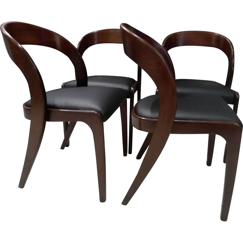 Suite of 4 vintage Baumann dining chairs, gondola model 1970