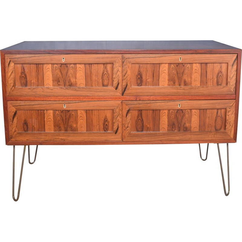 Vintage Rosewood Danish Chest Of Drawers Sideboard Cabinet
