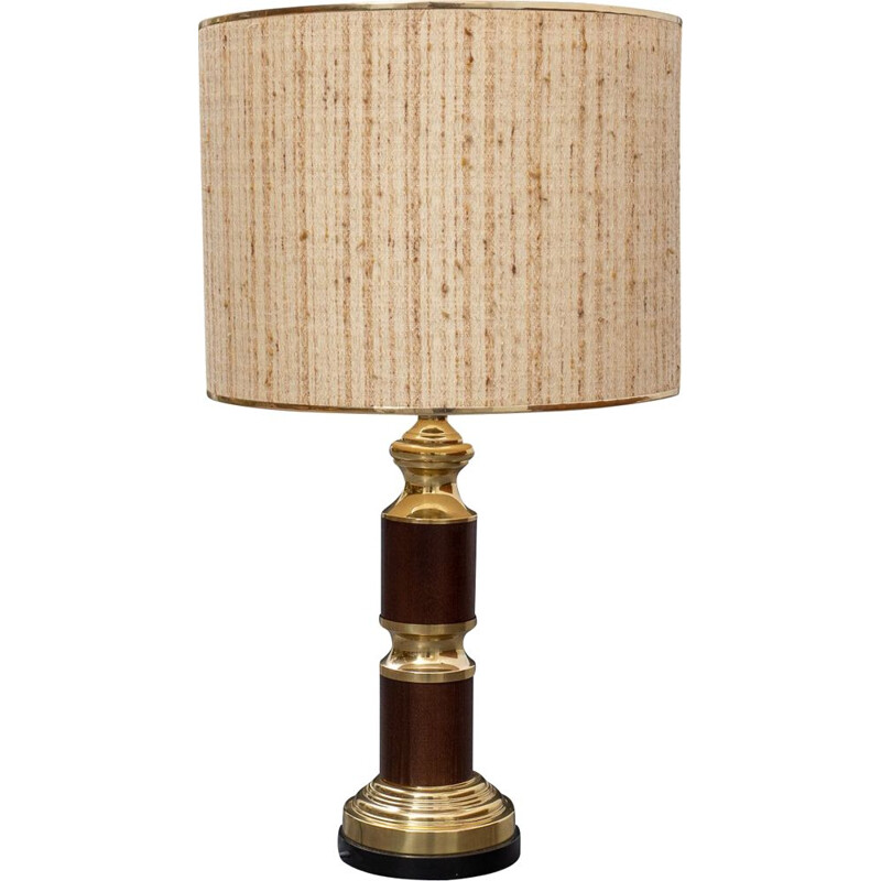 Large vintage table lamp, wood & brass 1970s
