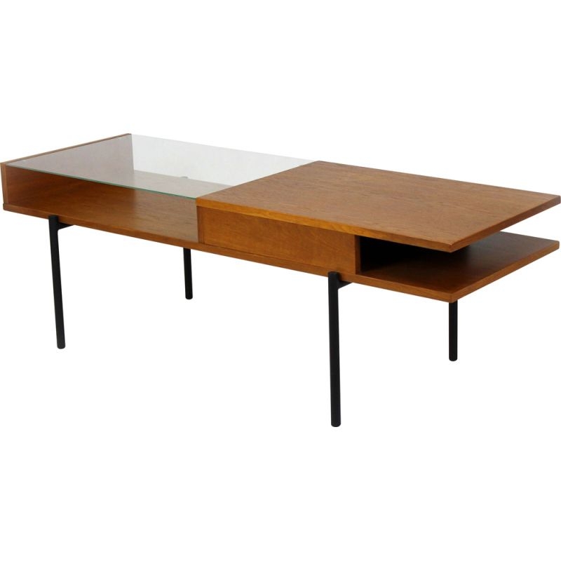 Vintage Oak Coffee Table with a Glass Top from ONV Olomouc, 1970s