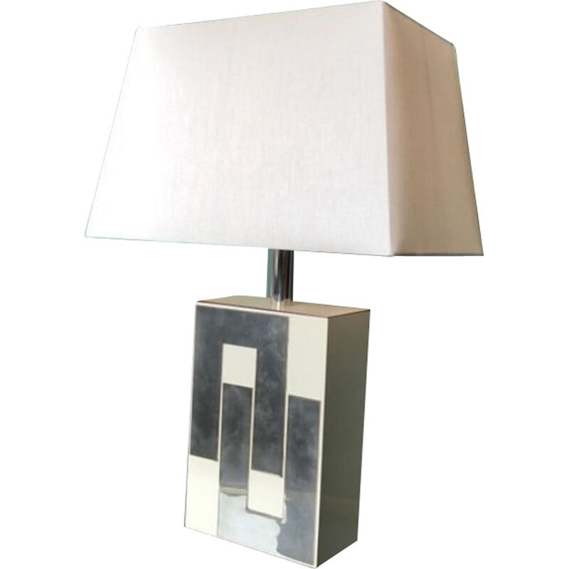 Vintage Chrome and White Philippe Jean 1980 Vintage Lamp