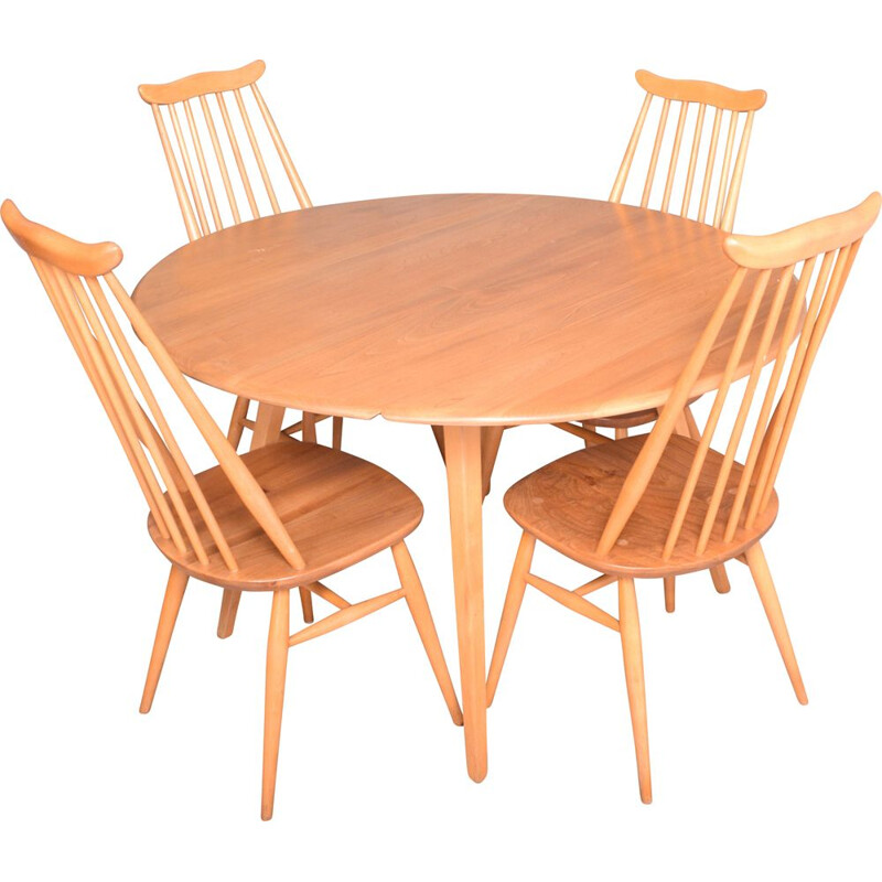 Vintage Ercol Blonde Model 384 Windsor Dining Table & 4 Model 359 Goldsmith Chairs