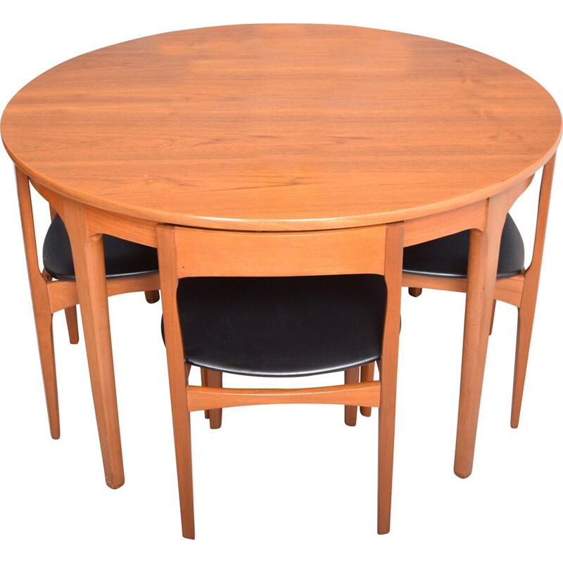 Vintage Teak Round Nathan Table & Four Tuck Under Chairs 1960s