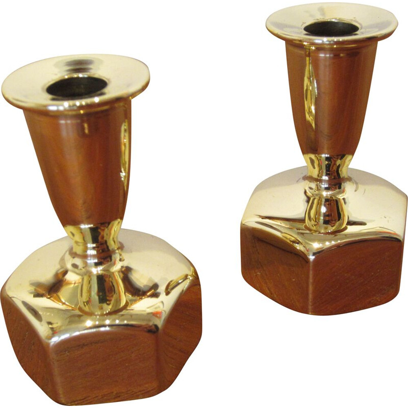 Pair of vintage L125 candleholders by Hans-Agne Jakobsson from Scandinavia