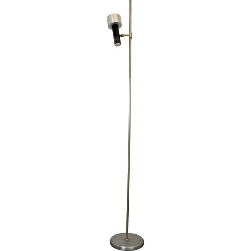 Vintage Nickel and lacquer floor lamp with orientable diffuser by Stilux Milano 1960