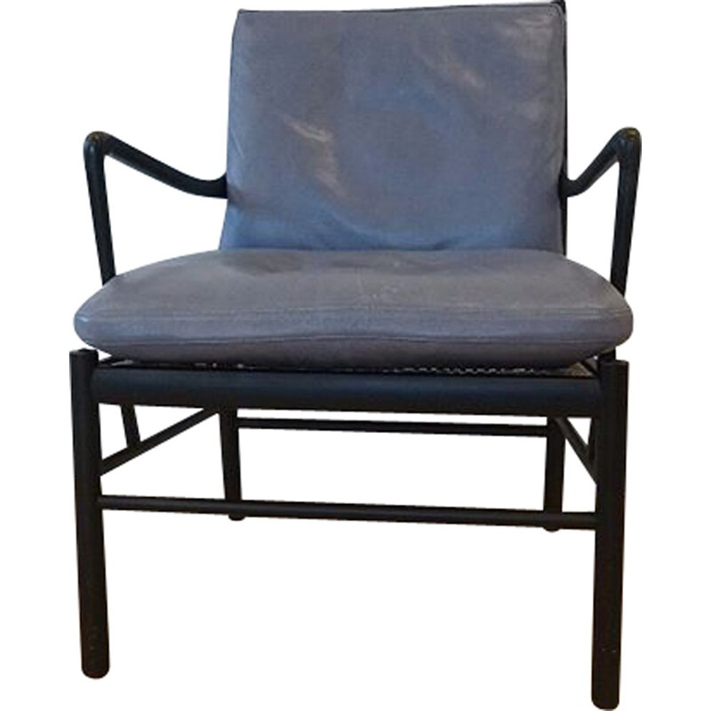 Vintage armchair black Ole Wanscher ColonialPJ149 1950