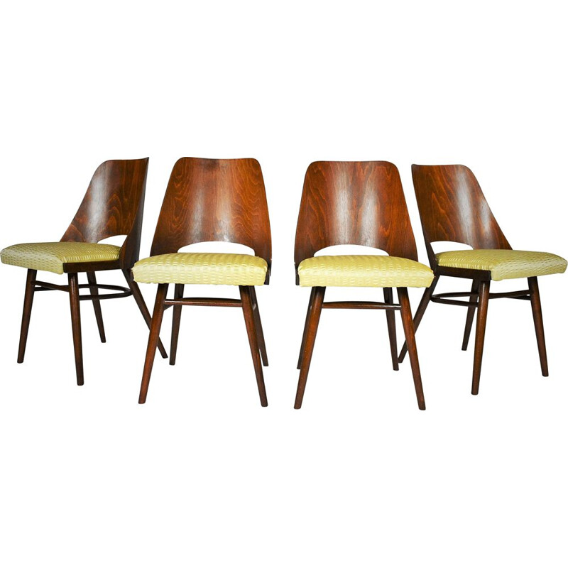 Set of 4 vintage Dining Chairs, Ton by Oswald Haerdtl Expo 58 1950s