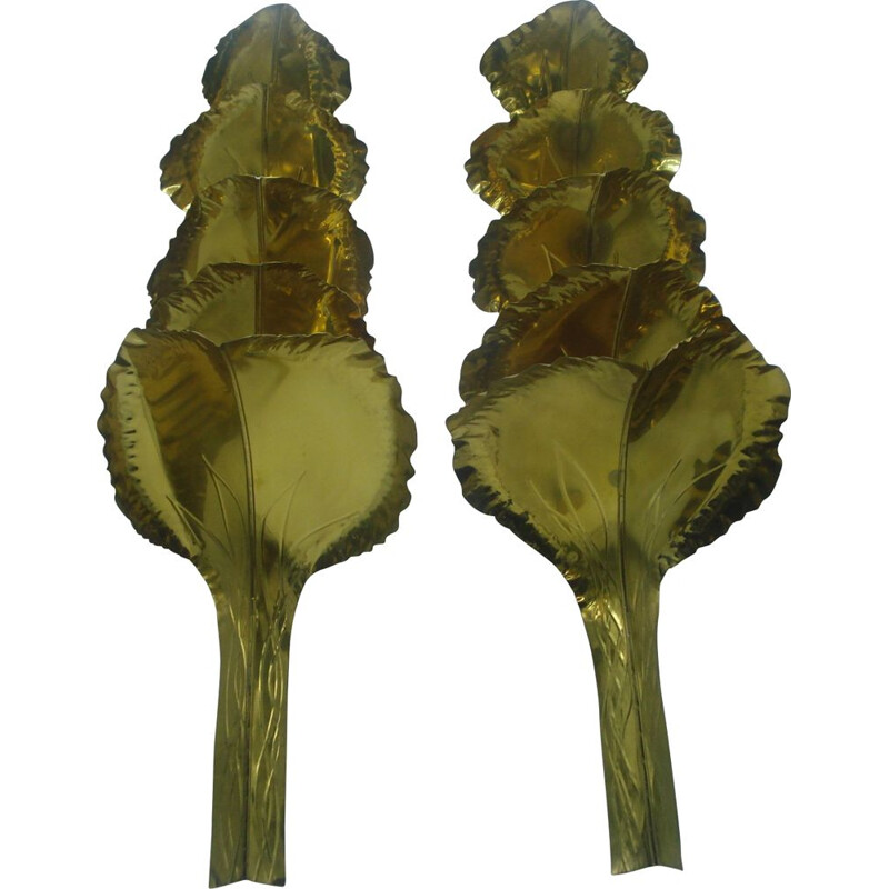 Pair of large brass vintag sconces from the House of Romeo 1970
