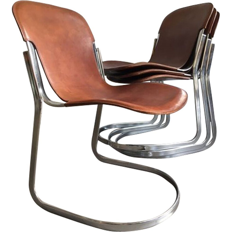 Set of 4 vintage brown leather C2 dining chairs 1970
