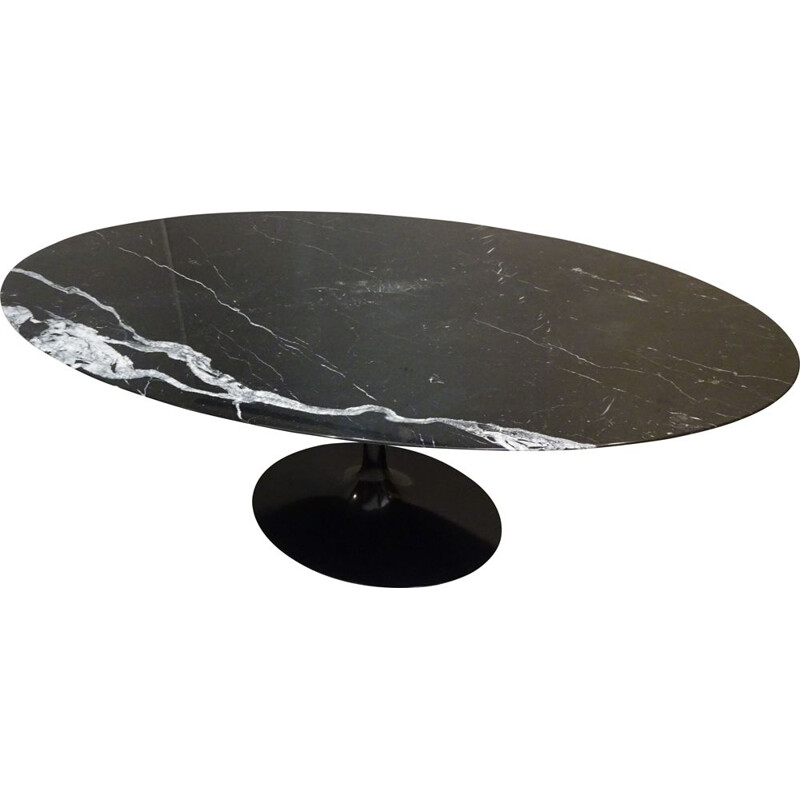 Vintage black marble table marquina by Eero Saarinen for Knoll 1990
