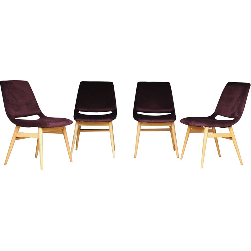 Set of 4 vintage dinning Gondola chairs, Hungary 1960
