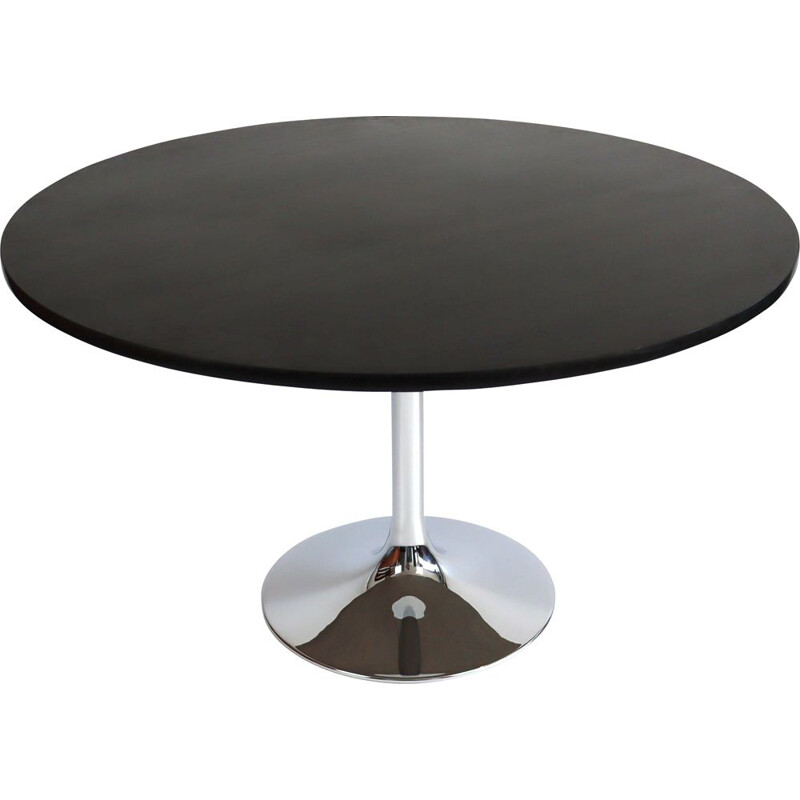 Vintage round table with chrome tulip leg 1970