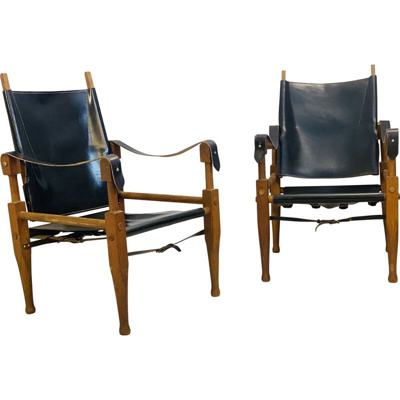 Pair of Kaare Klint Safari Vintage Chairs