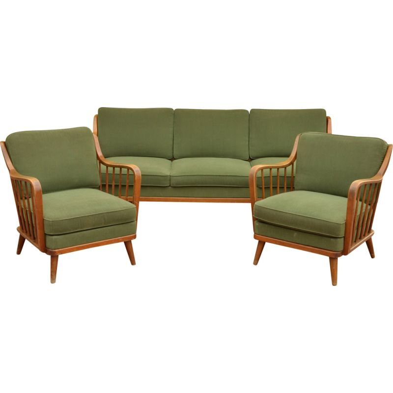 Set of Sofa and 2 Chairs vintage of Knoll Antimott, 1950s