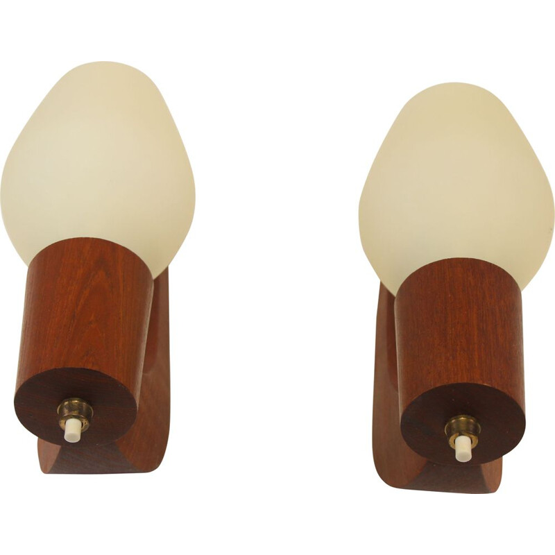 Pair of Vintage teak, brass, and opal glass Wall Lamps Danish  1960