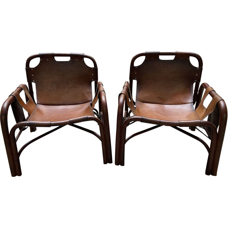 Pair of vintage armchairs Bamboo and Leather 1960