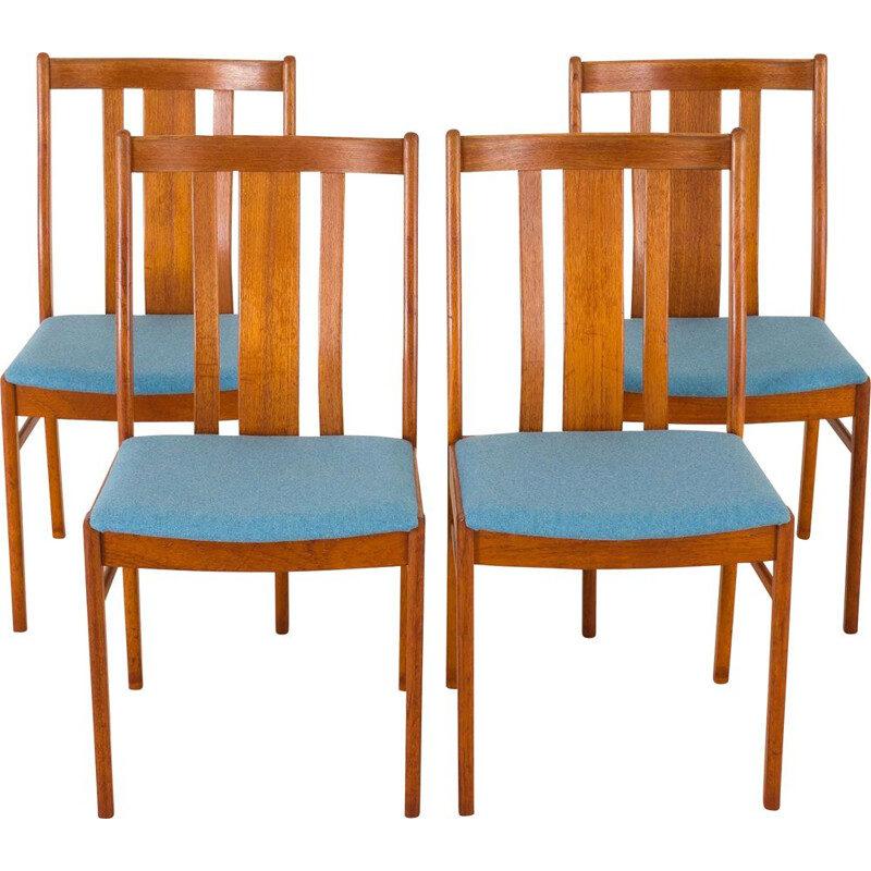 Set of 4 Danish mid-century teak chairs in new blue upholstery