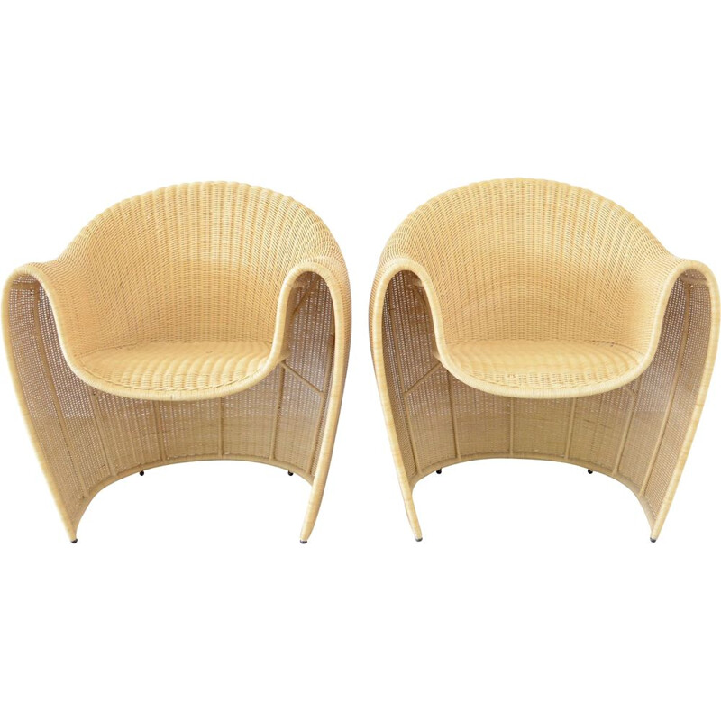 Pair of Vintage Driade King Tubby rattan armchairs by Miki Astori 1995