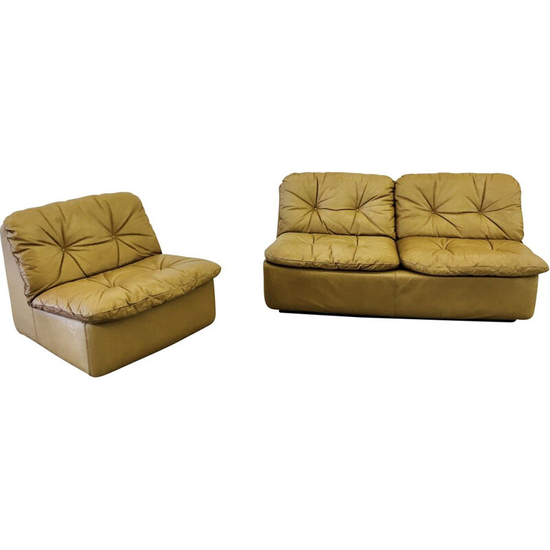 Pair of Vintage Cord reipunkt sofa set in cognac leather 1960s