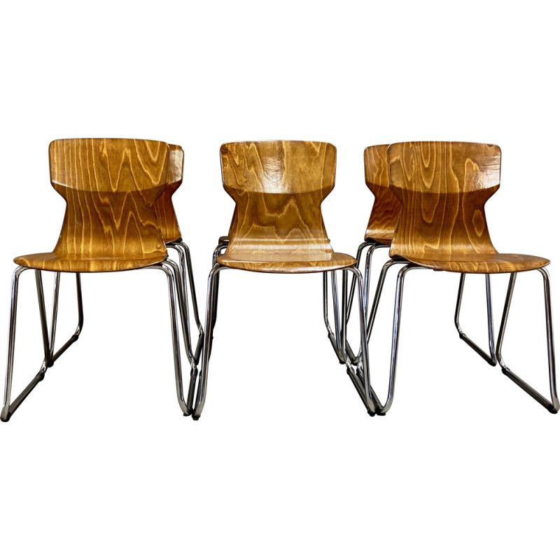Set of 6 vintage Pagwood chairs for Casala 1960